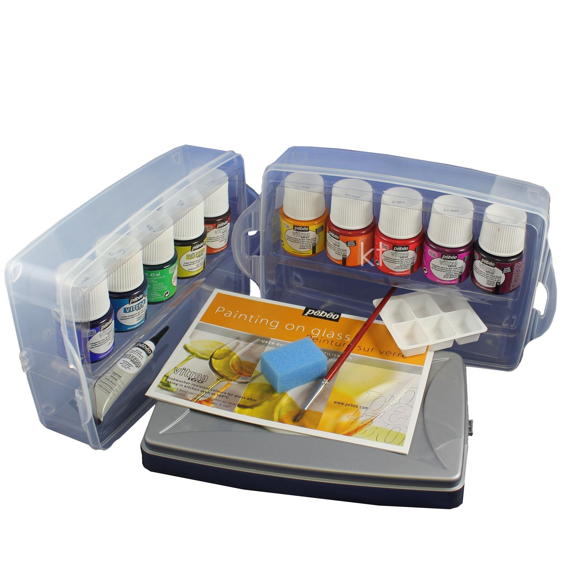 pebeo artist glass paint gift set vitrea 160 work box for