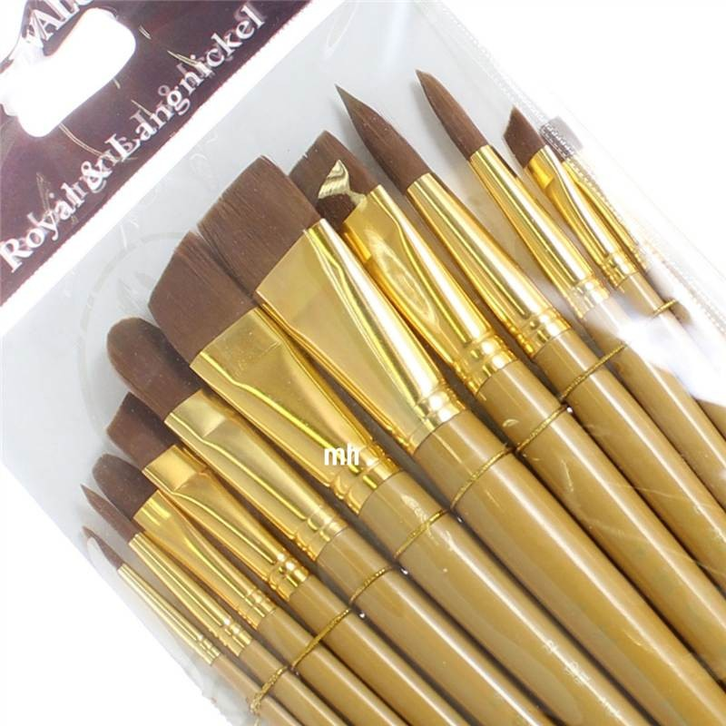 Royal Langnickel 12 soft brown Taklon brushes RSET-9303