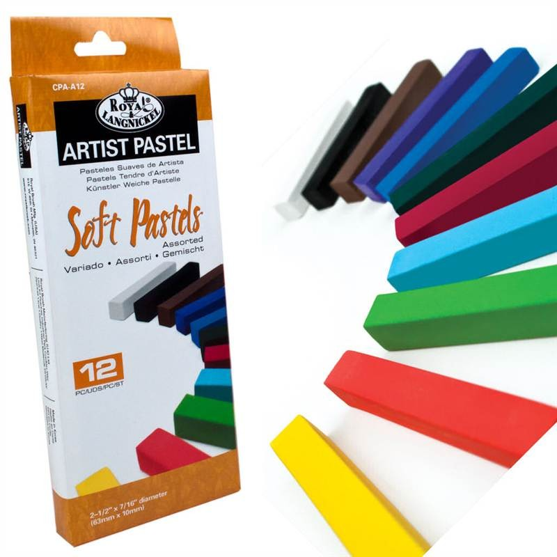 12 assorted soft coloured pastels from Royal and Langnickel