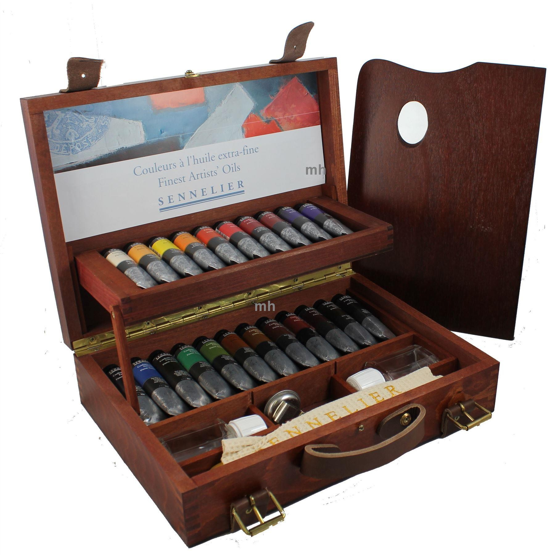 Sennelier 130351 artists oil wooden box set