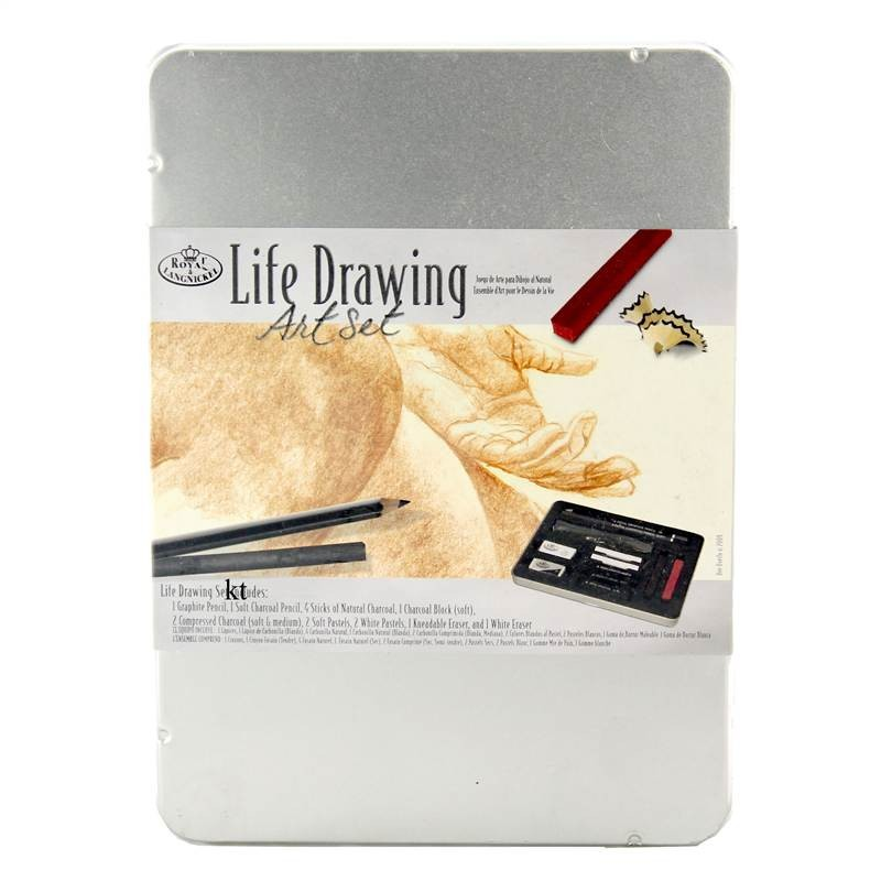 royal and langnickel artists metal tin set  life drawing