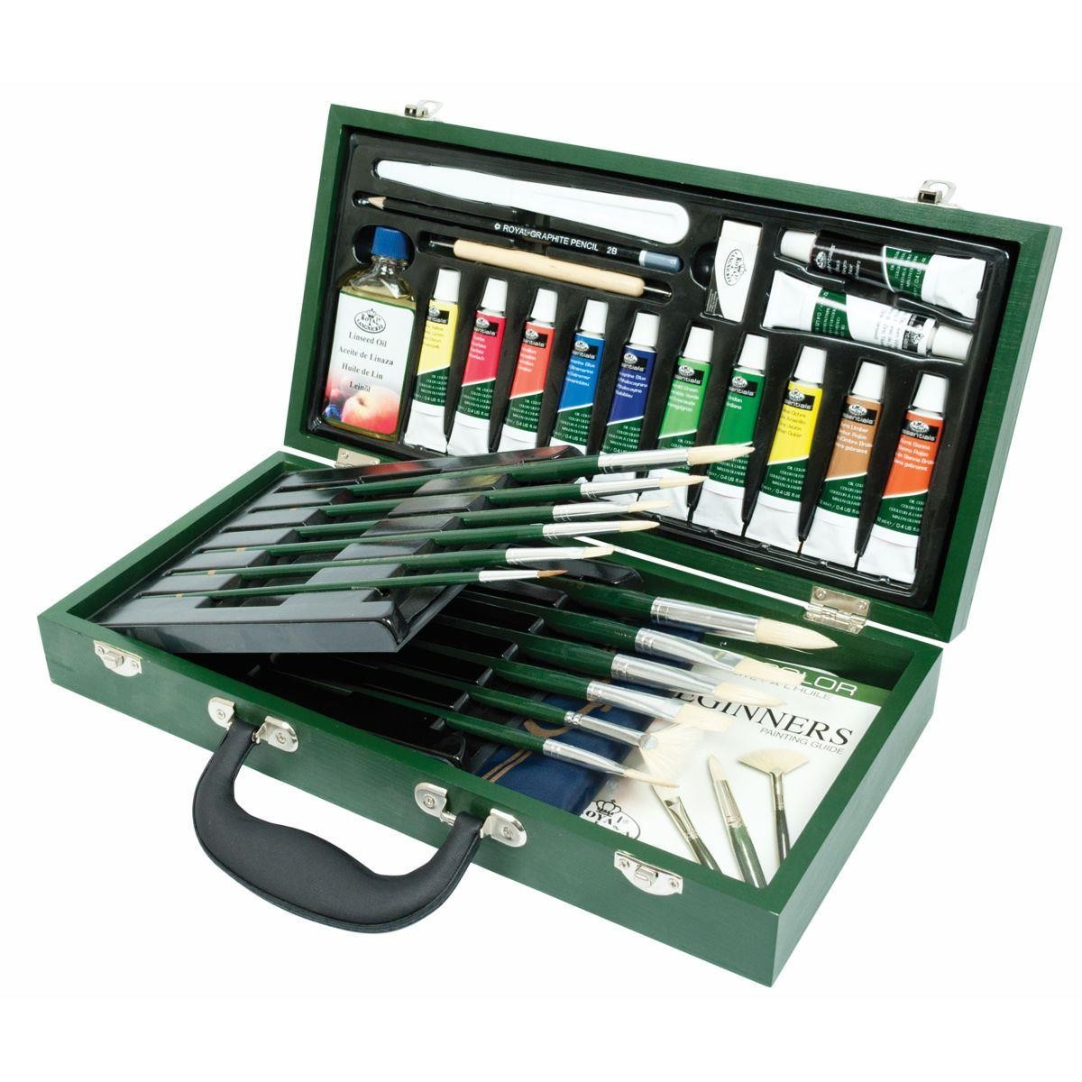 Deluxe Oil Paint & Brush Artist Painting Set + Book