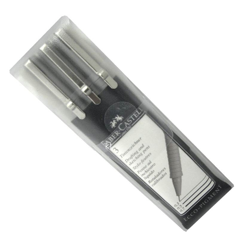Faber Castell 3 Ecco-Pigment Drafting & Sketching Pens 0.3, 0.5, 0.7