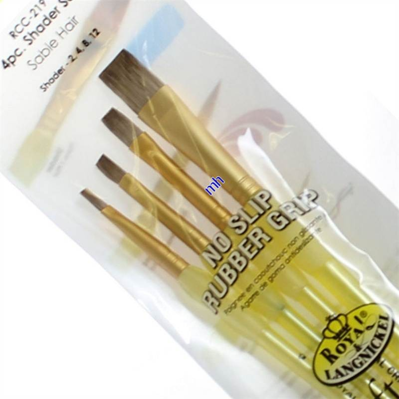 Royal and Langnickel crafters soft grip Sable flat brush set