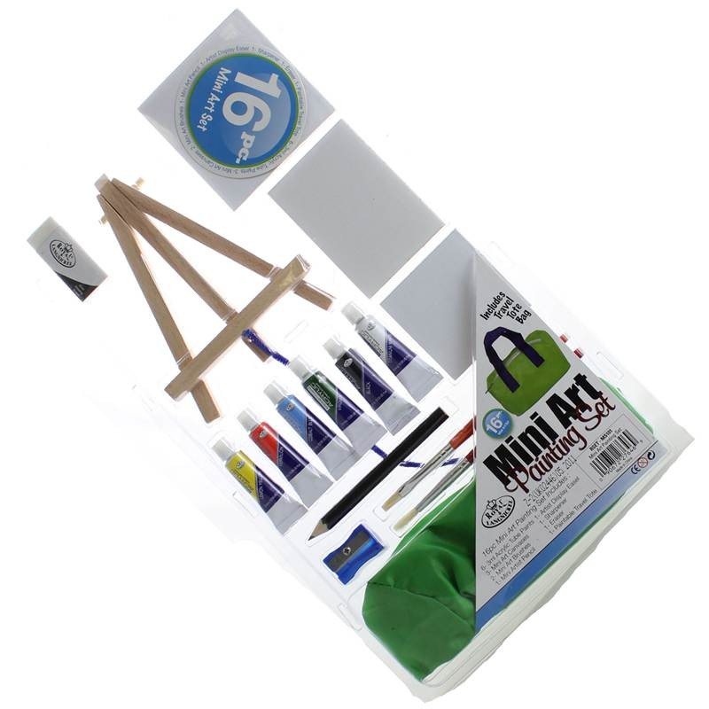 16 Piece Mini Art Painting Set With Acrylic Paints , Easel And Canvases