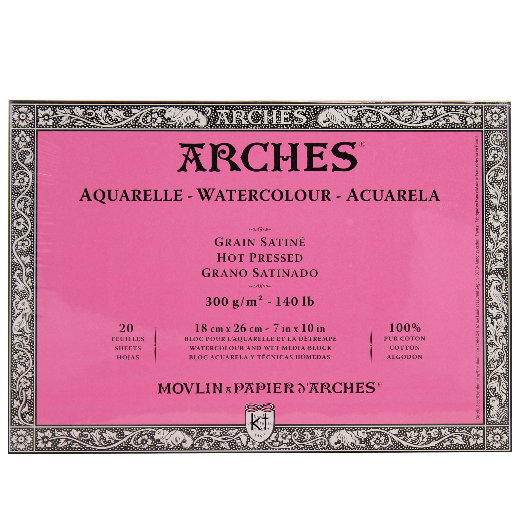 Arches Watercolour Block Hot Pressed - 100% Cotton 20 Sheets 7x10""