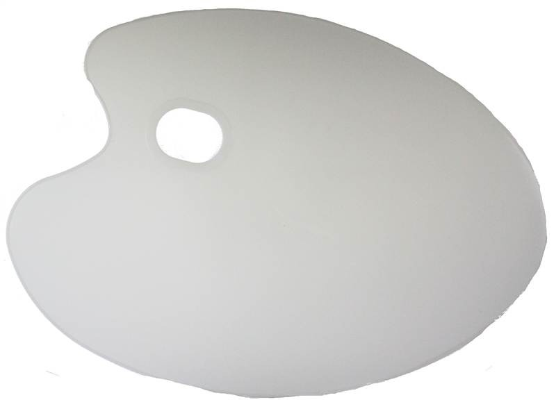 Artists Perspex kidney shaped plastic pallet. Ideal for acrylic oil or make-up artists