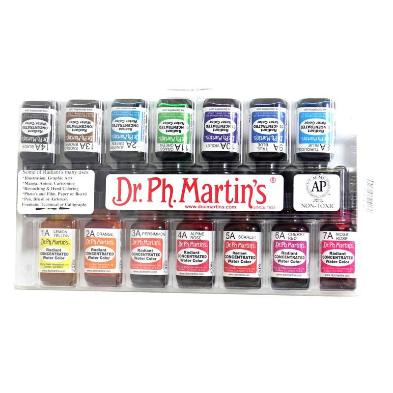 Dr Ph Martin's Radiant Concentrated bottle ink watercolour set