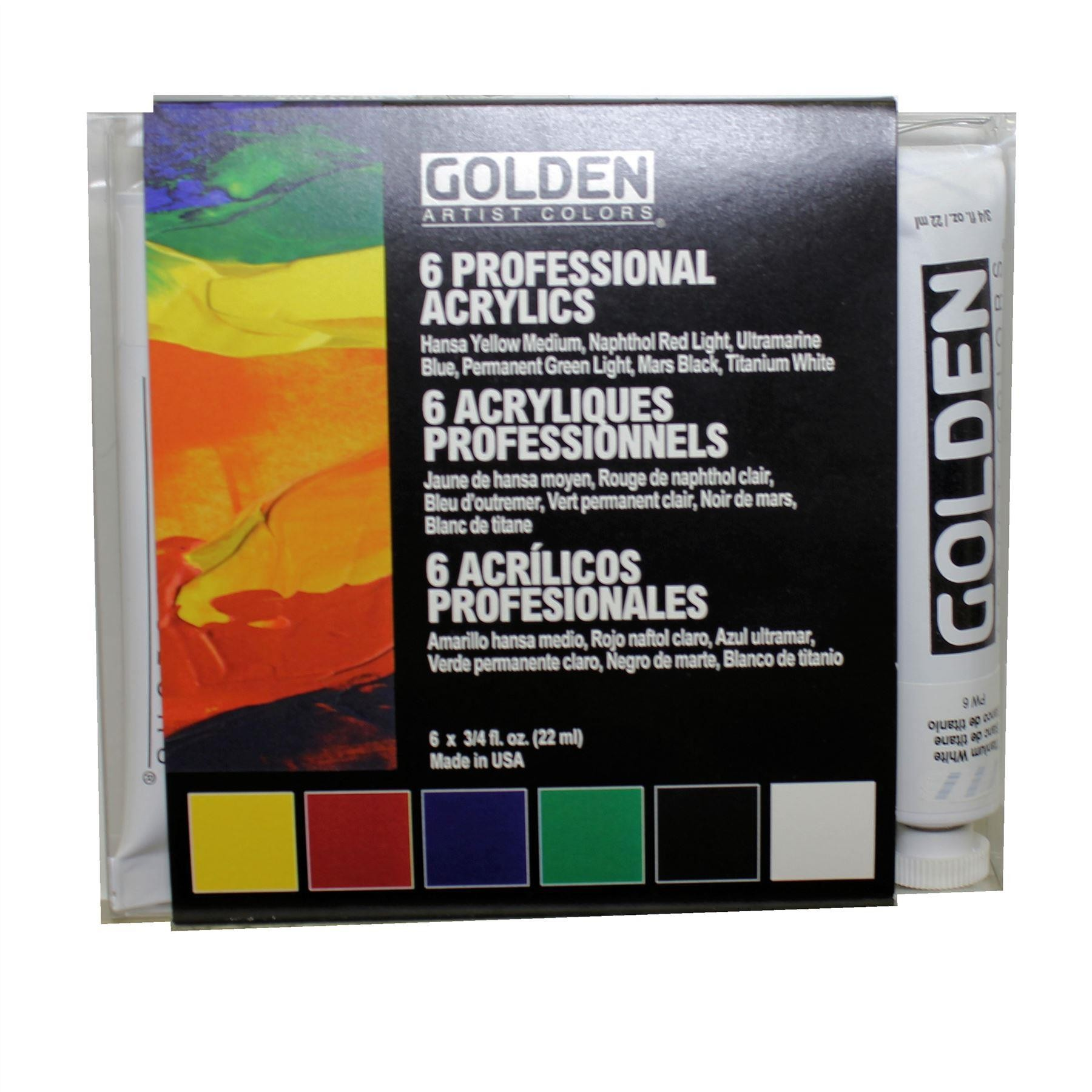 Golden Acrylic Paint Introductory Set 6 X 22ml Tubes