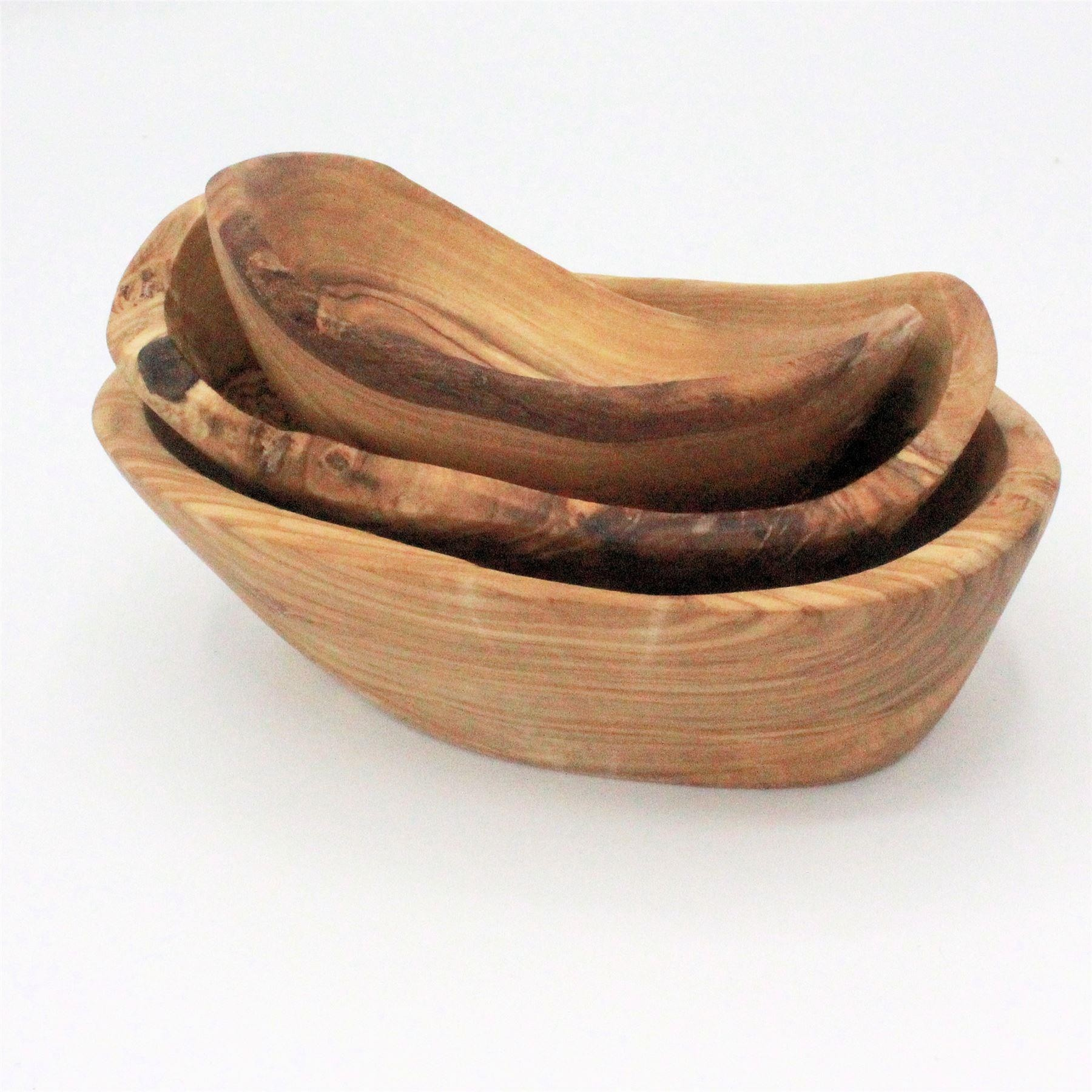Olive wood rustic dishes (set of 3)