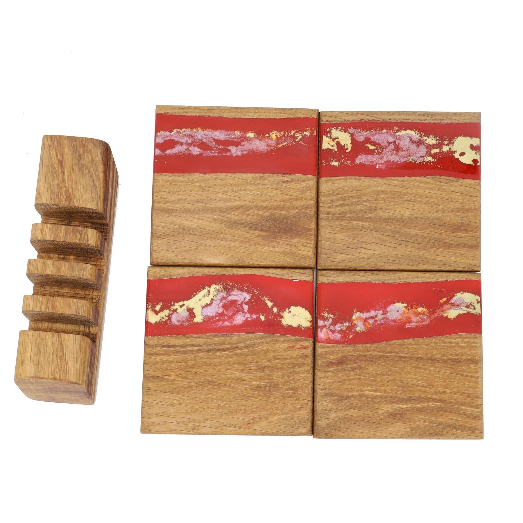 4 wooden oak and red gold resin coasters and stand