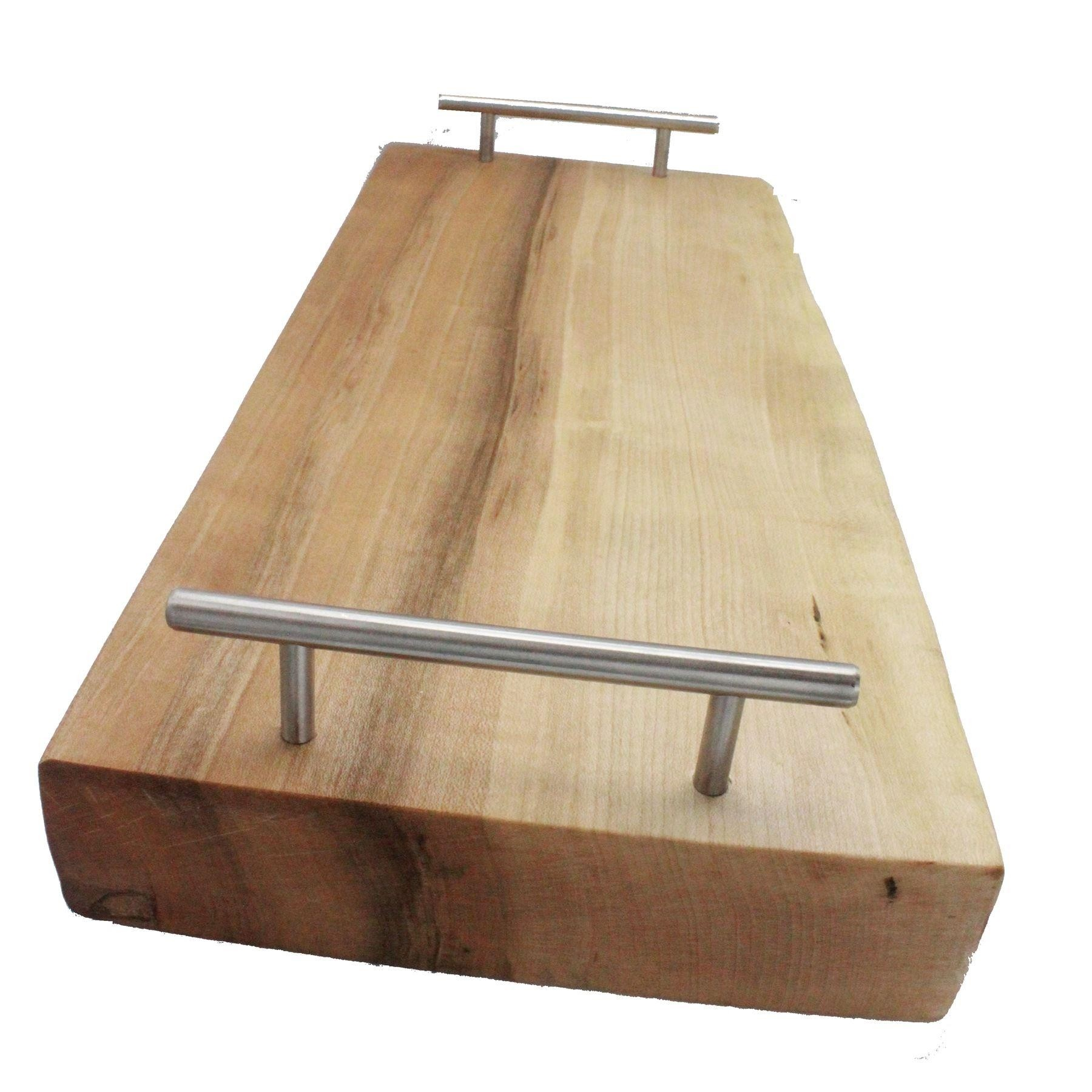 Chef wooden chopping board one live edge Metal handle thick solid Ash
