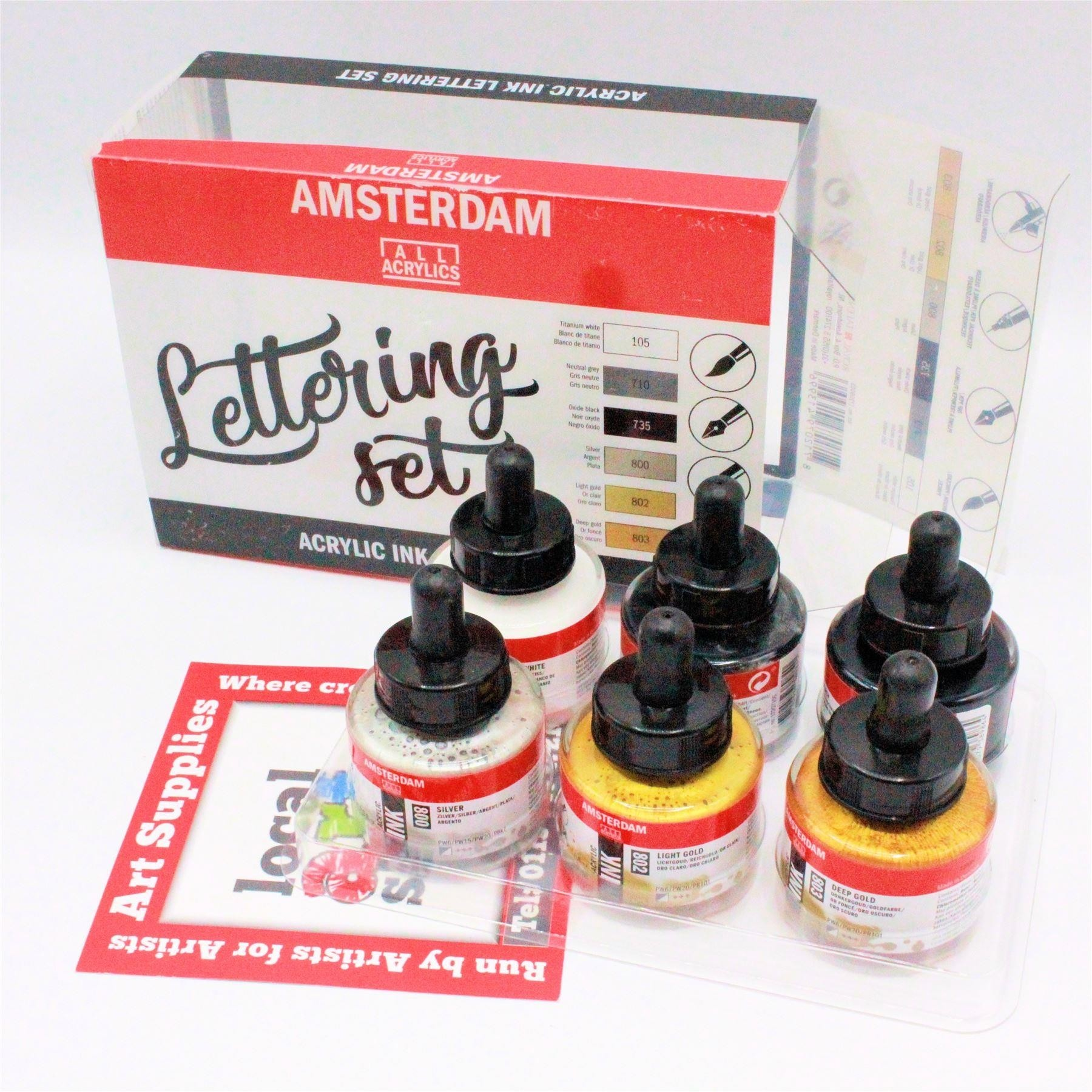 Amsterdam acrylic ink set lettering 6 x 30ml