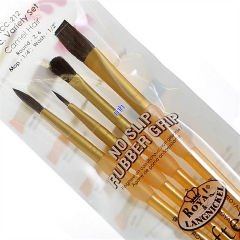 royal & langnickel artists crafters Art Brush Set 4pc All Purpose Camel Hair RCC-212