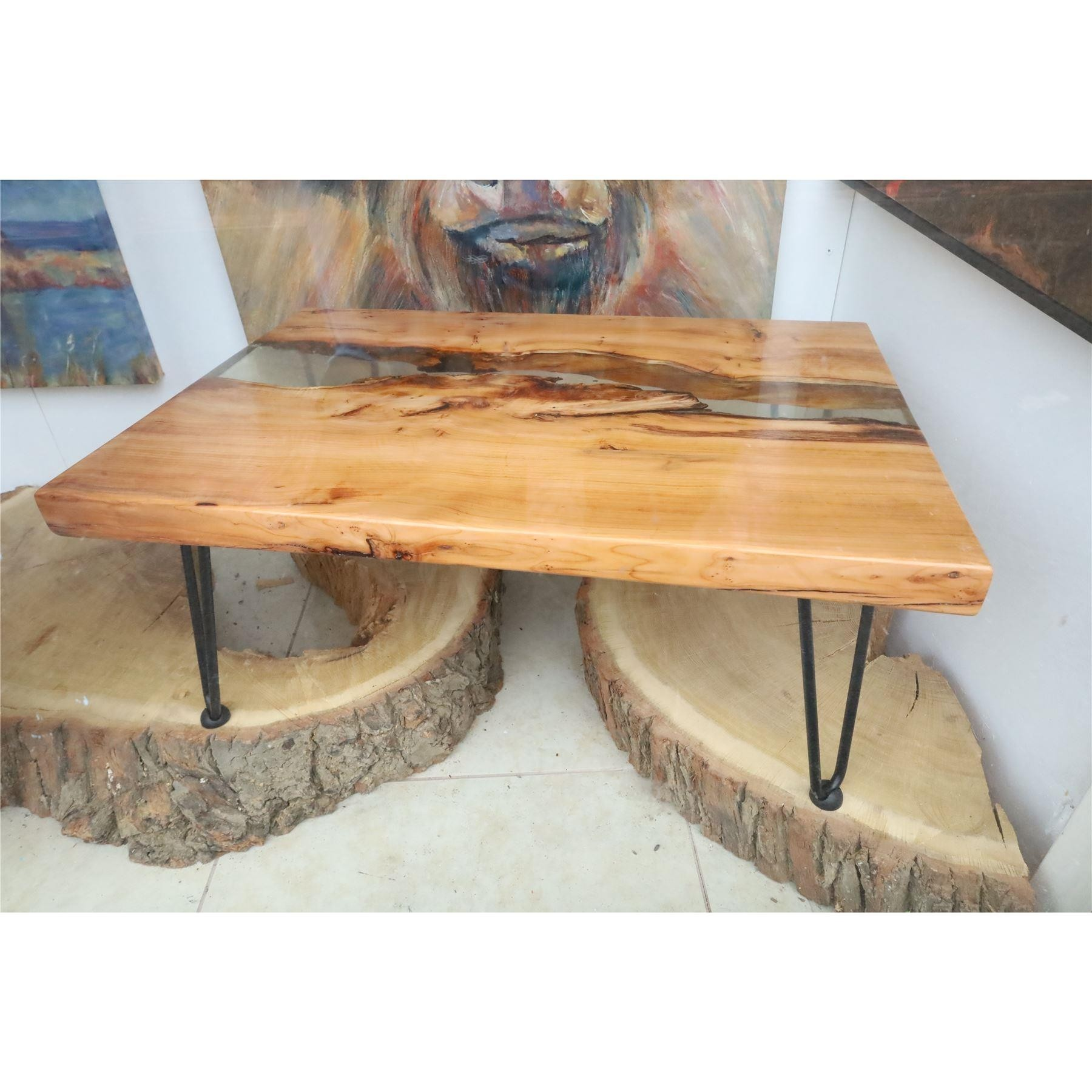 Yew wood river coffee table live edge furniture wood and resin.