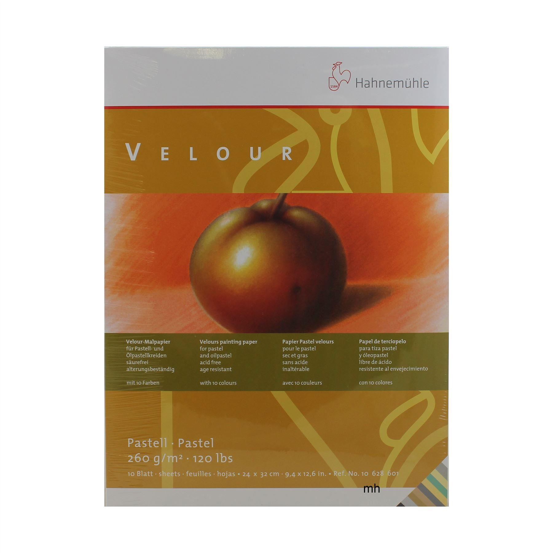 Hahnemühle Velour Pastel Paper Pad - 24x32cm - 10 Assorted Colour Sheets 260gsm