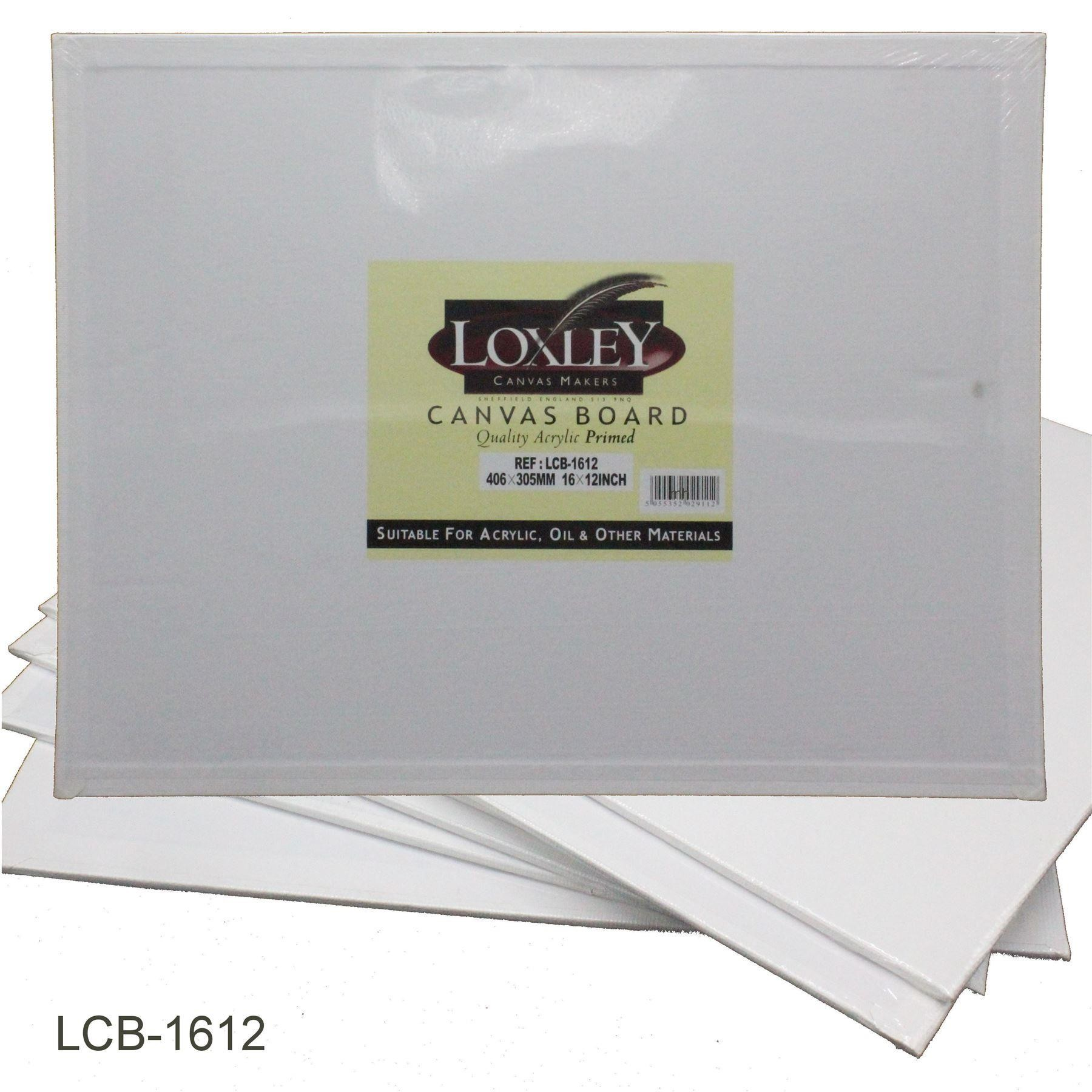 "Quality double primed acrylic canvas board from Loxley - 16"" x 12"""
