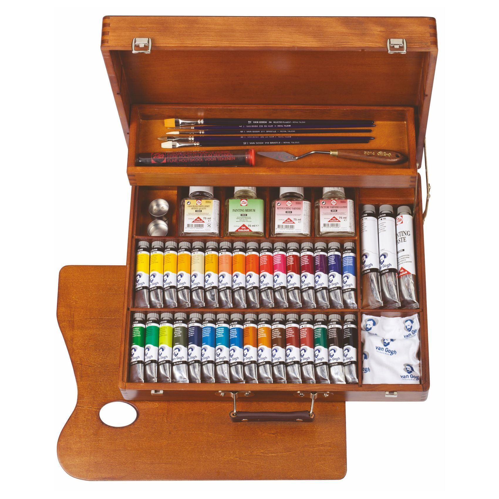 Van Gogh oil colour paint superior wooden gift box set