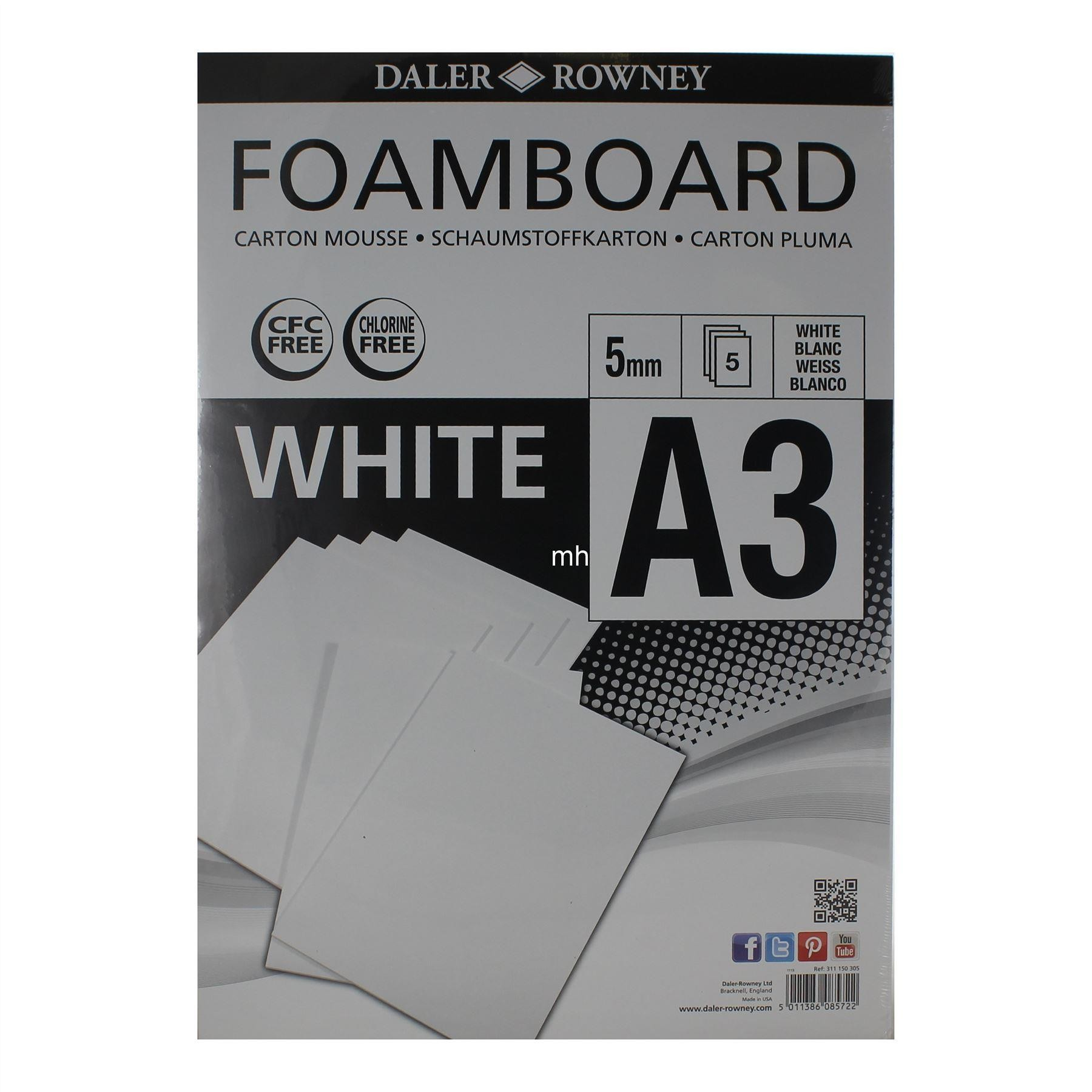 Daler Rowney A3 5 PACK Foamboard White 5mm
