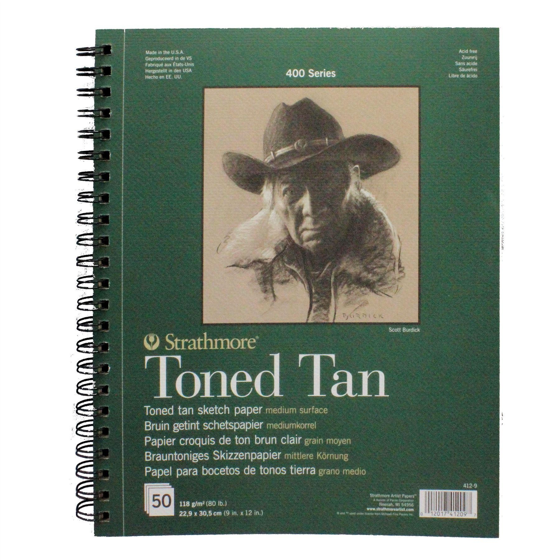 "Strathmore toned tan sketch paper 22.9 x 30.5cm 9""x12"", 50 sheets"