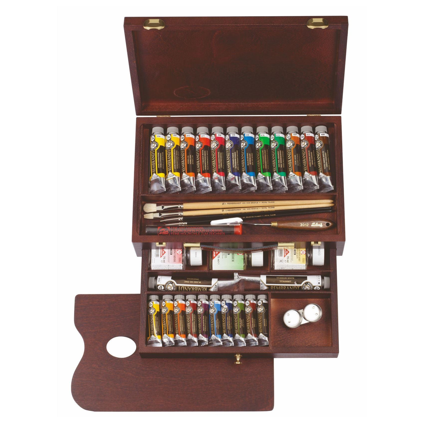 Rembrandt artists oil colour paint wooden box set master edition