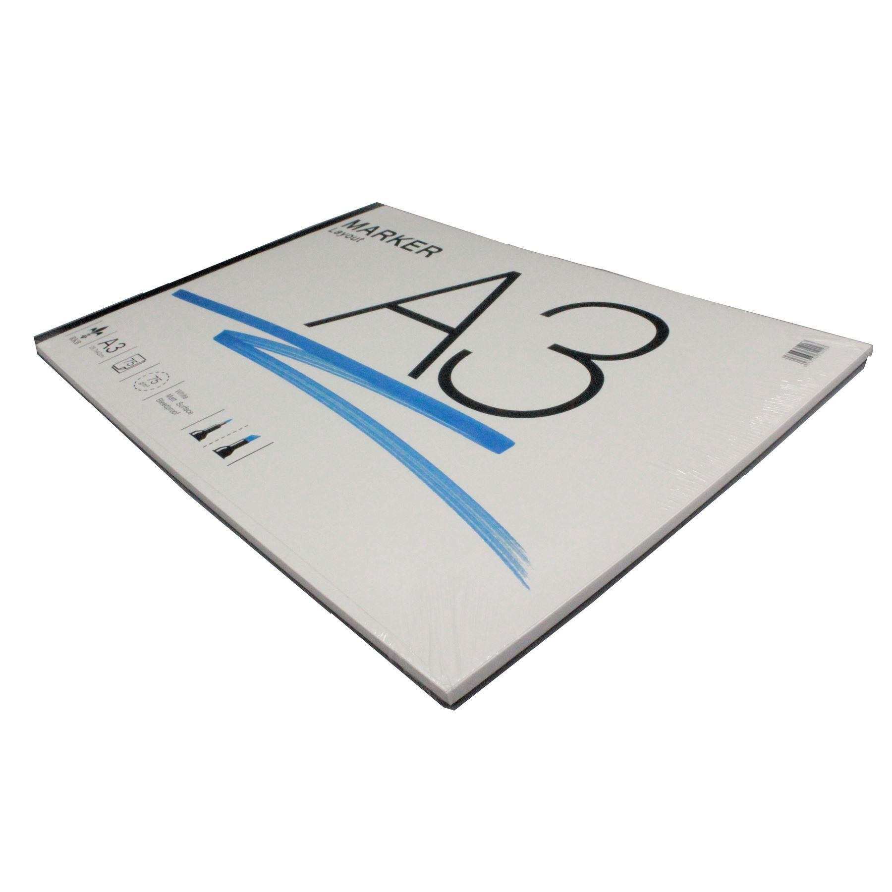 Marker layout paper pad A3 75gsm white bleedproof 75 sheets