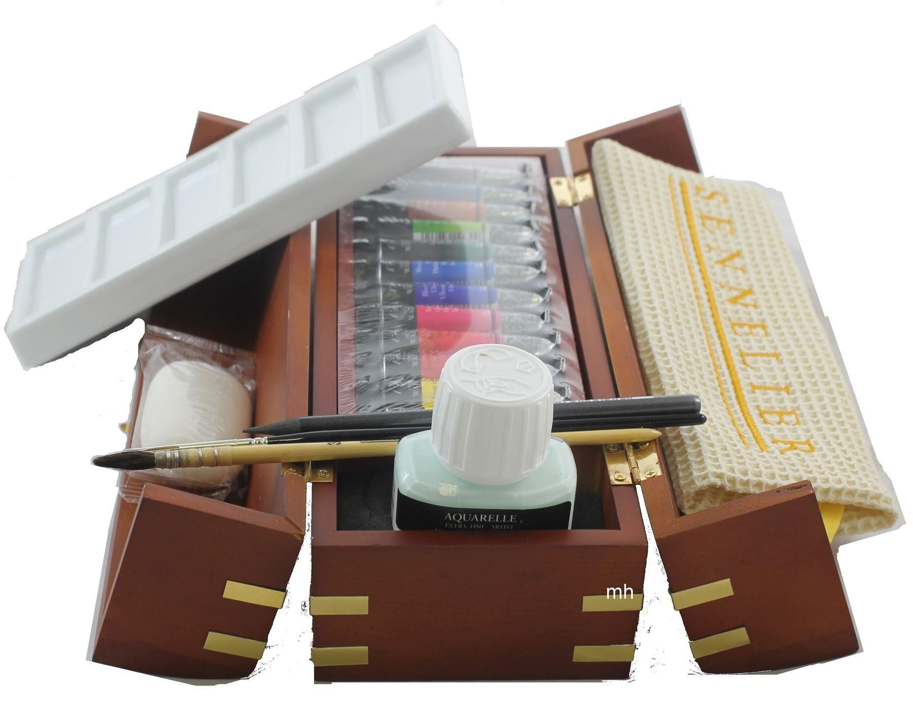 Sennelier artists watercolour wooden treasure chest gift set. 12 tubes extra fine