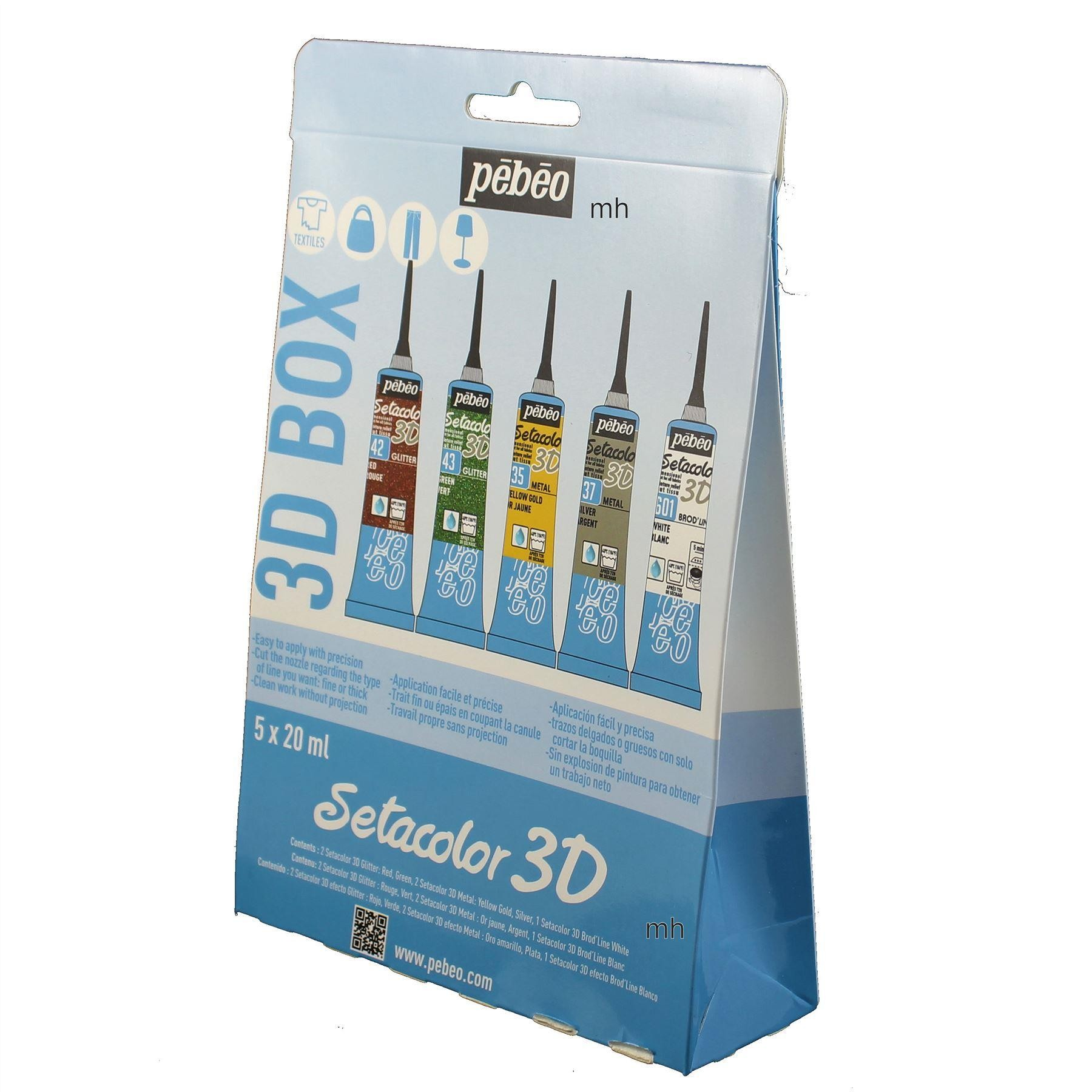 Pebeo setacolor 3-D assorted set of fabric gutter paints