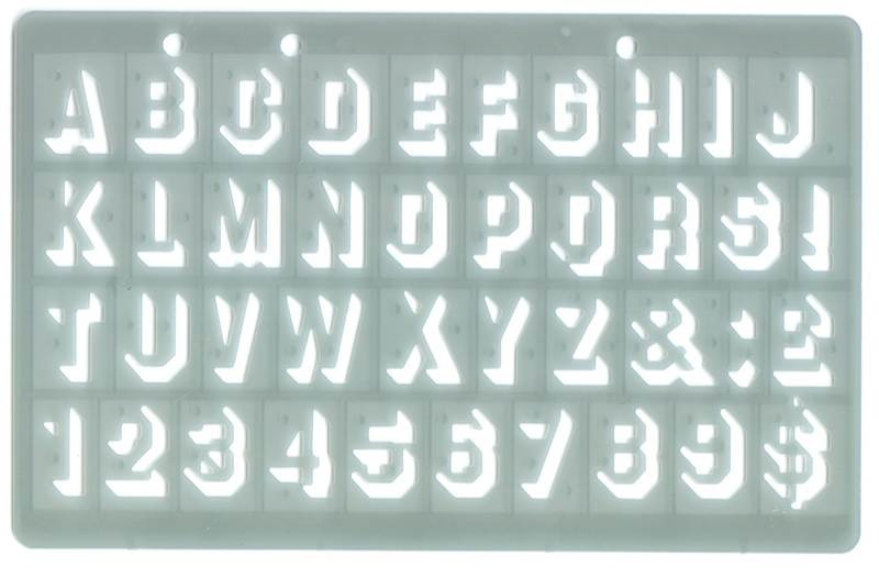 Plastic letter stencil shadow font letters and numbers