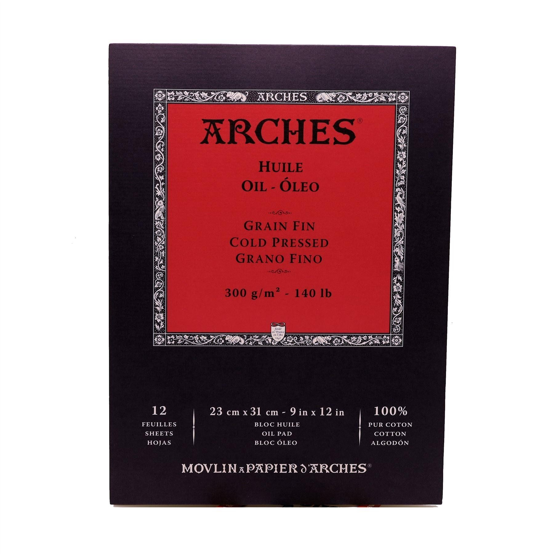Canson Arches oil paper pad cold pressed - 12 Sheets - 23x31cm