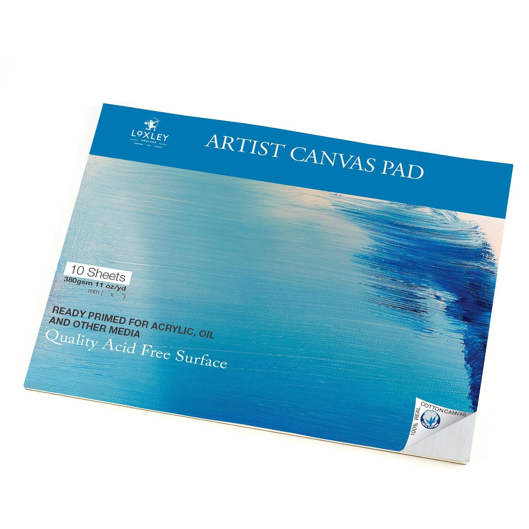 "Loxley primed canvas sheet pad 12"" x 10"" Cotton Canvas"