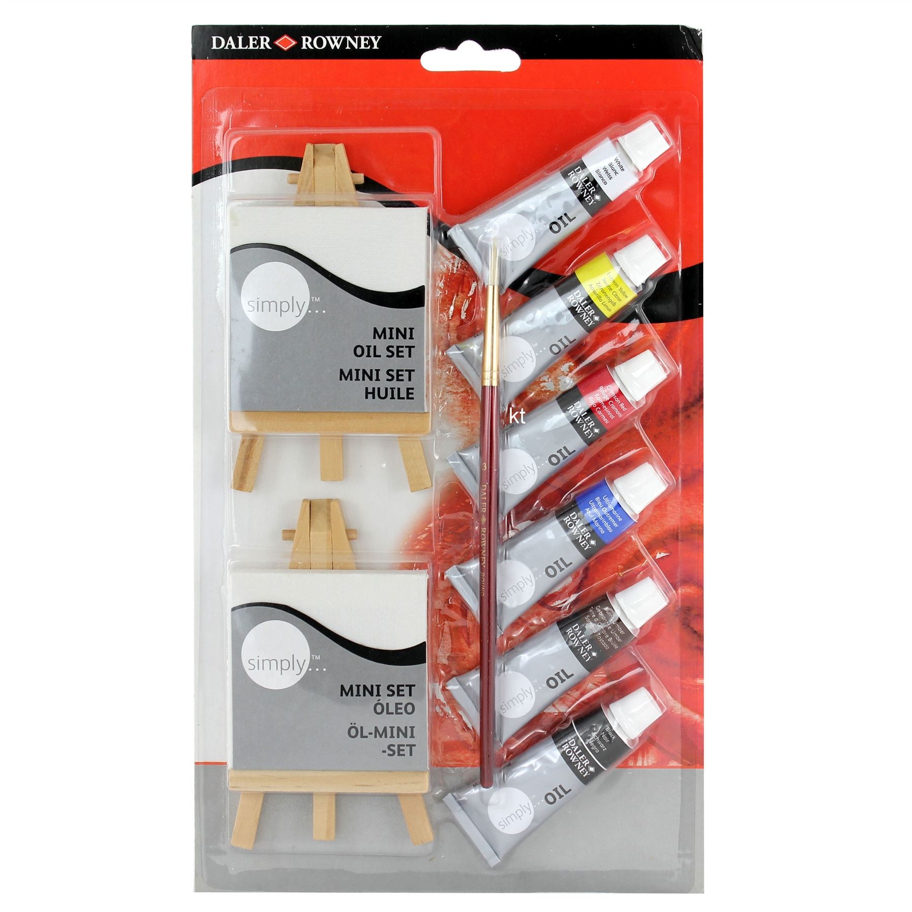 Daler Rowney Mini Oil Set - Paints Brushes Easel