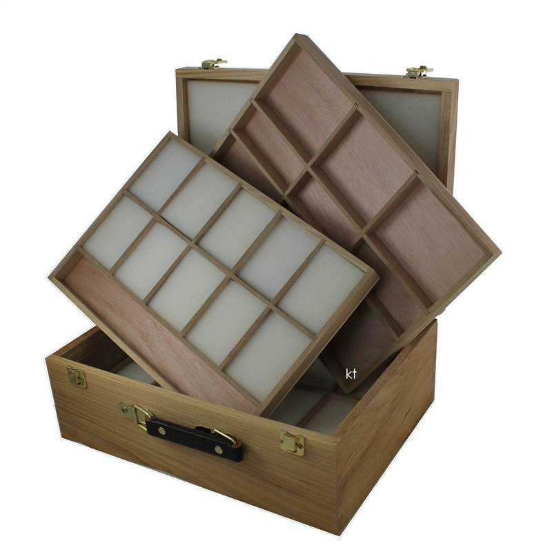 Loxley Langsett wooden pastels box with foam in trays