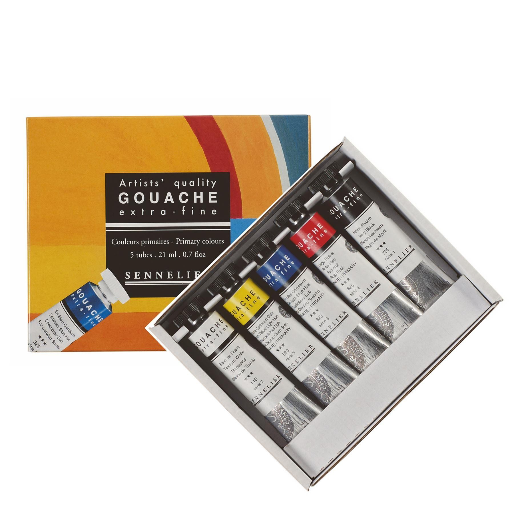 Gouache extra fine paint Sennelier set of 5