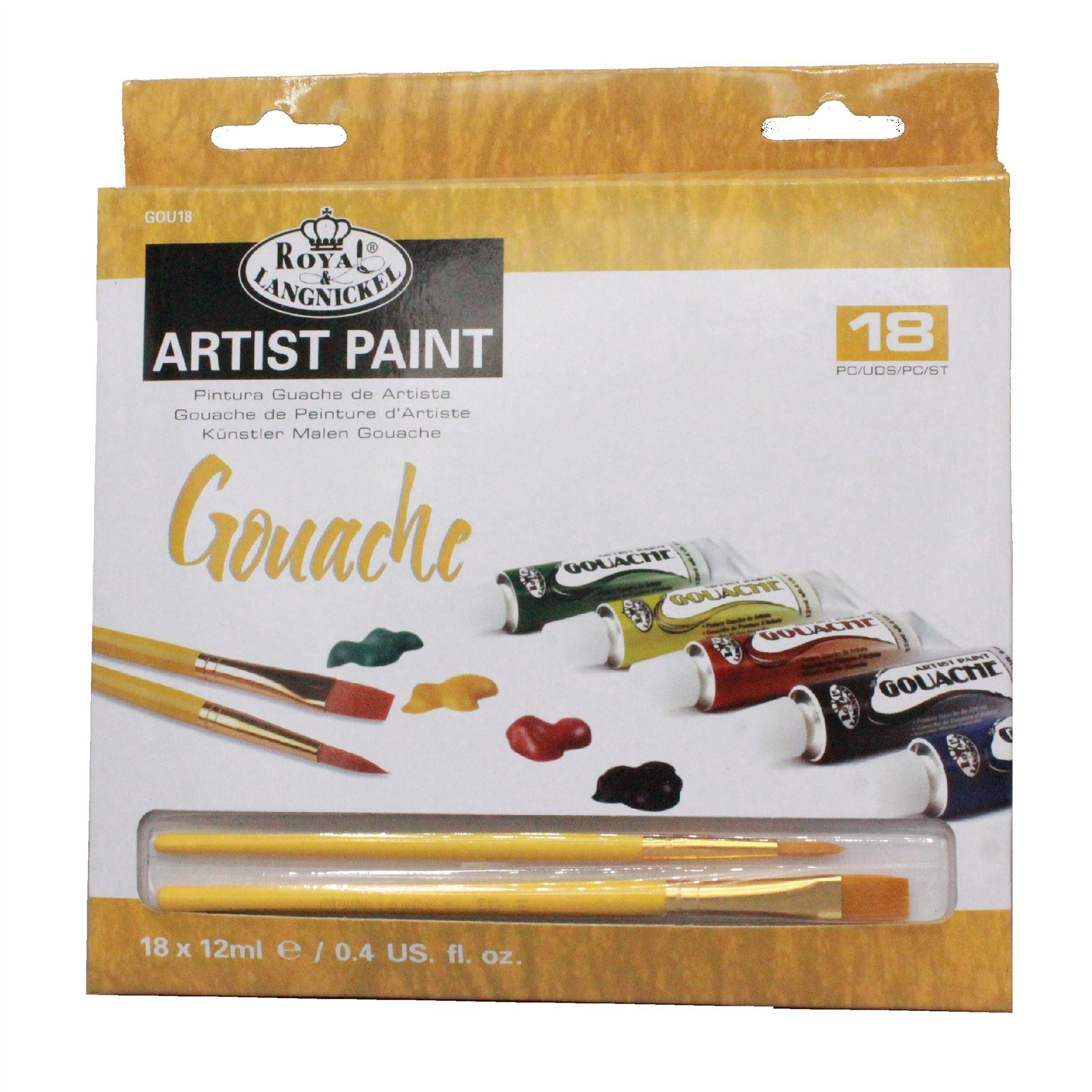 Royal & Langnickel artists student painting 18 colour Gouache Paint Set