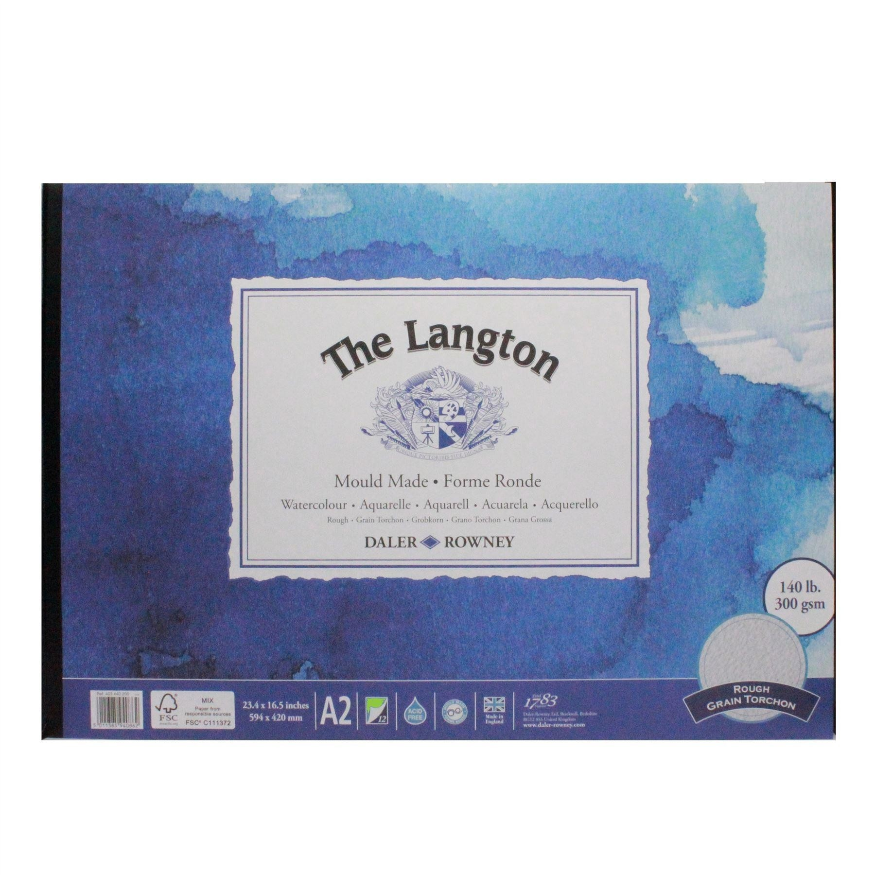 Daler Rowney langton watercolour rough pad a2 300g 12sh