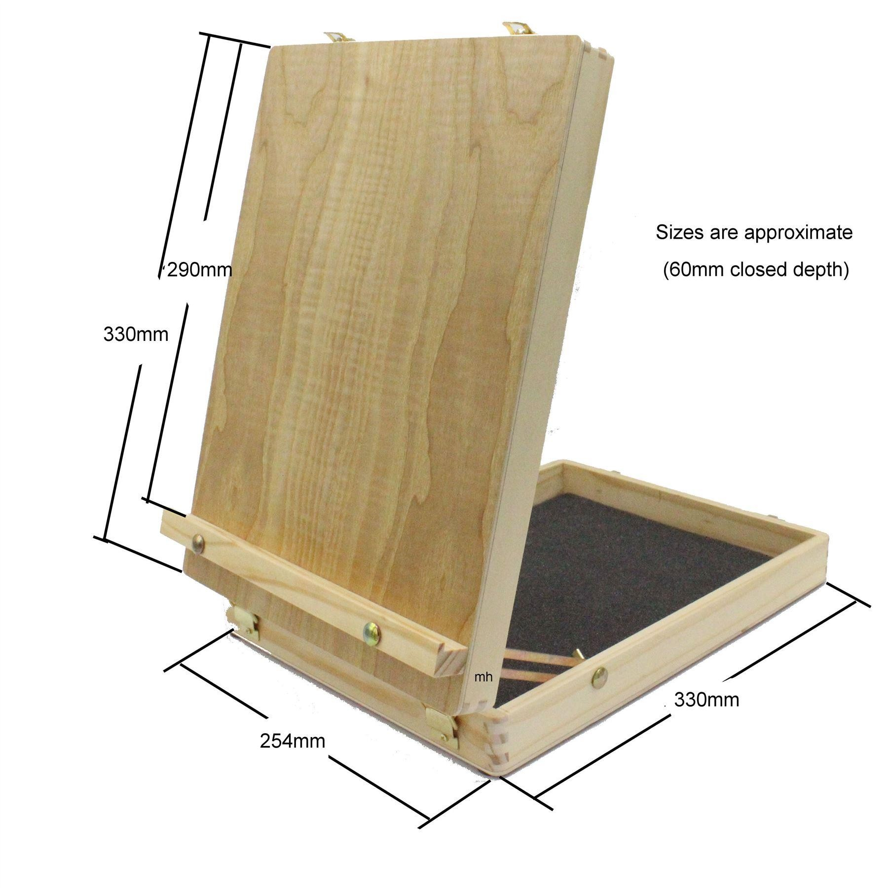 sizes of artists wooden table top easel