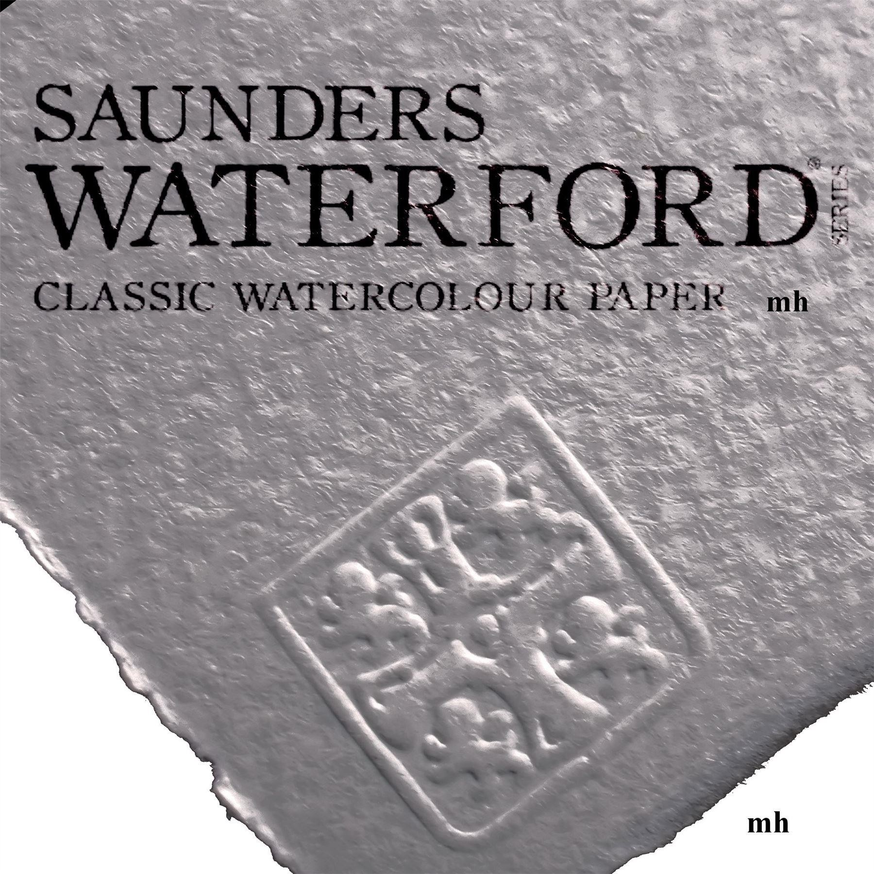 """Saunders Waterford 15"""" x 11"""", 4 sheets 100% cotton white CP 425gsm (200lb) watercolour paper"""