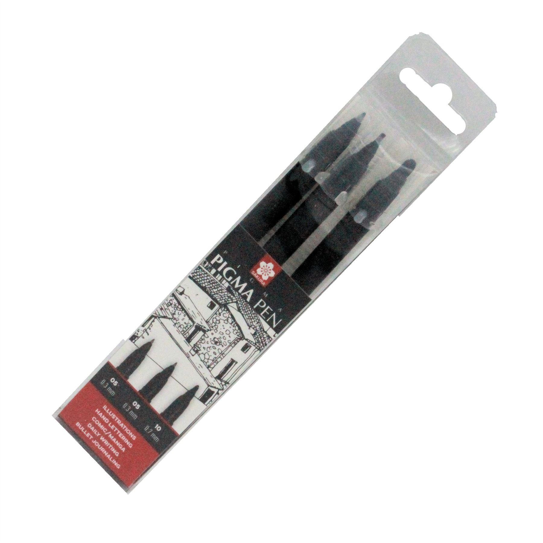 Sakura black Pigment pen set of 3 gel pens 0.3mm 0.7mm