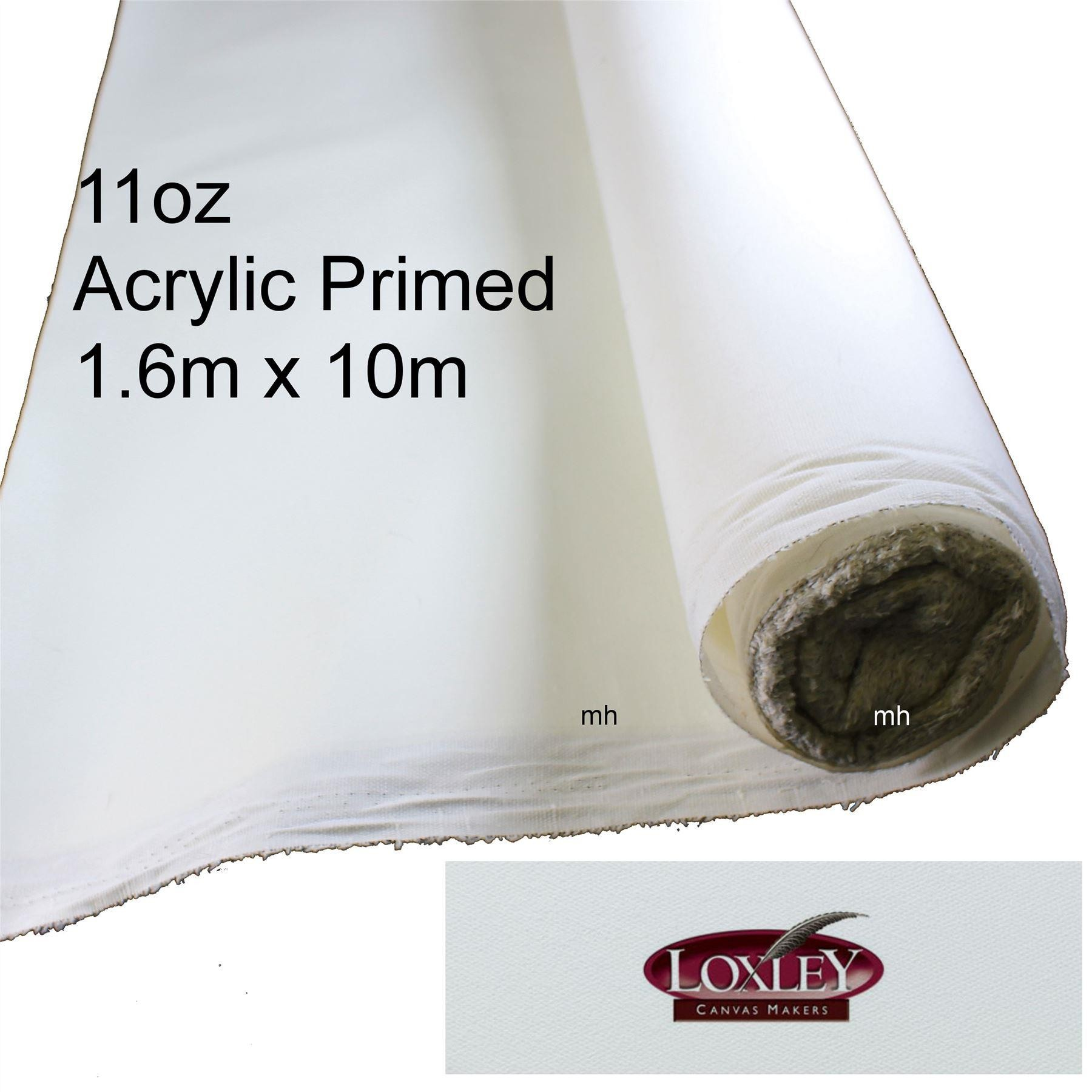 Loxley canvas roll primed 1.6m x 10m cotton
