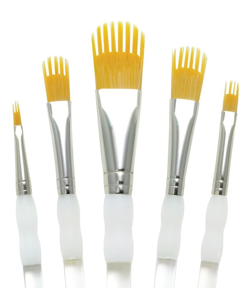 Royal & Langnickel 5 piece packet of golden taklon gap shaped artists paint brushes RAQUA-201