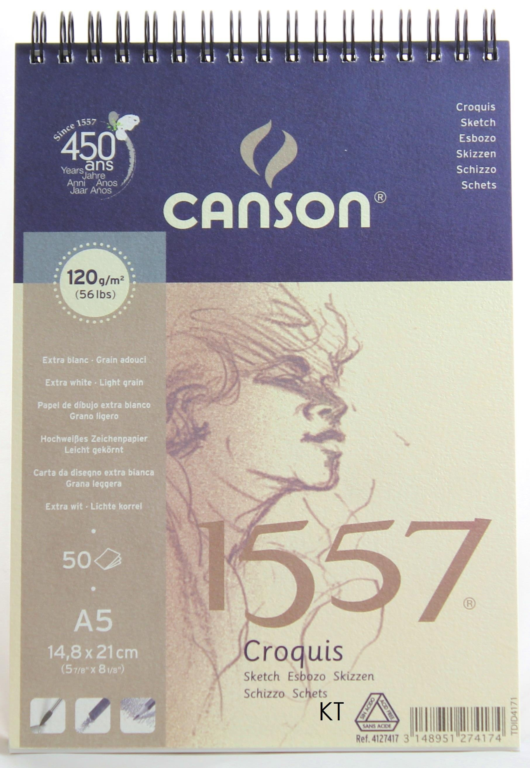 Canson 1557 Spiral Bound Pad - A5 Size 120gsm 50 sheets extra white light grain