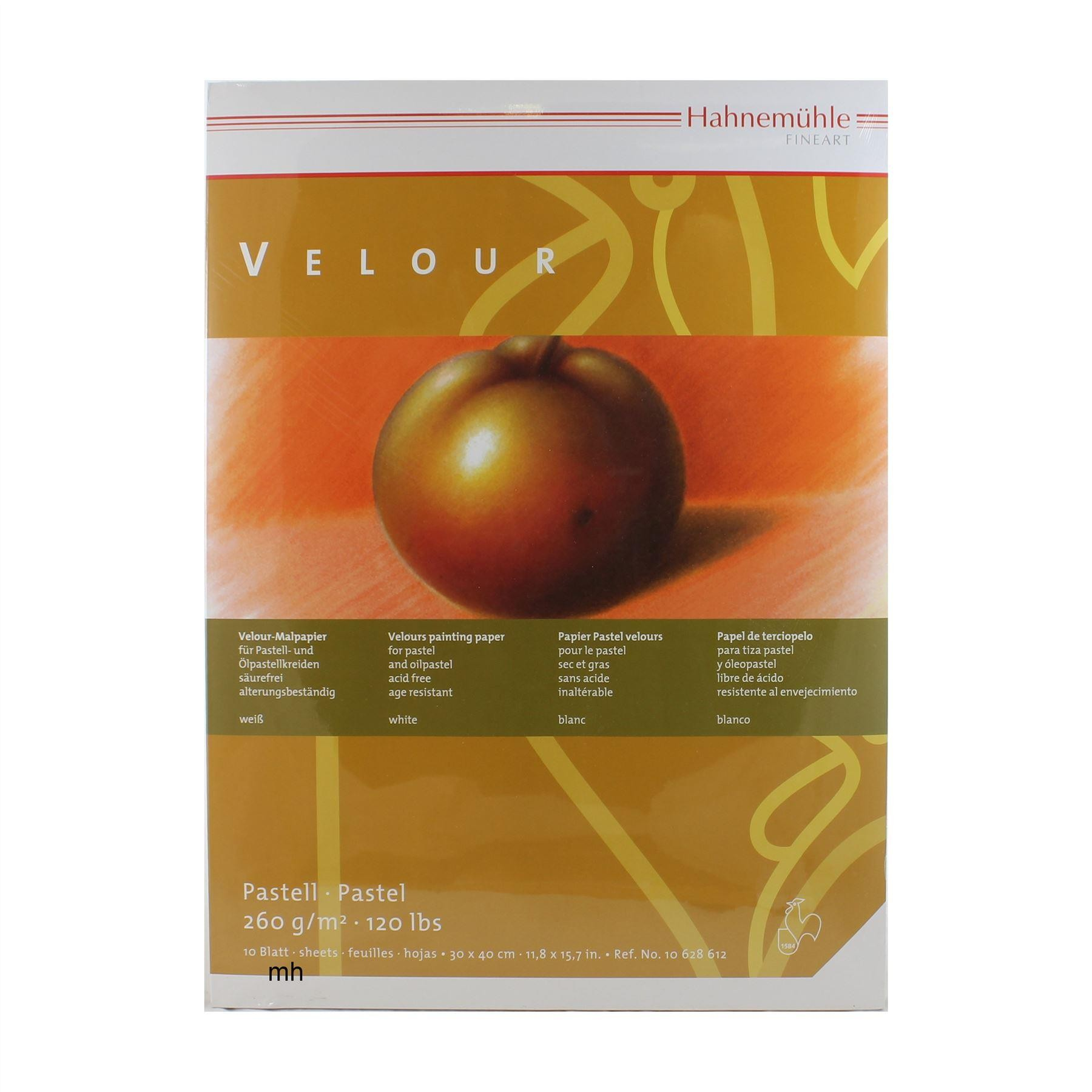 Hahnemuhle artists velour pastel paper pad 30 x 40cm white sheets 260gsm