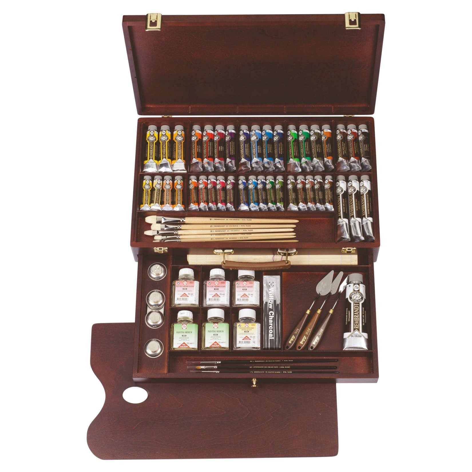 royal talens rembrandt oil colour wooden box set