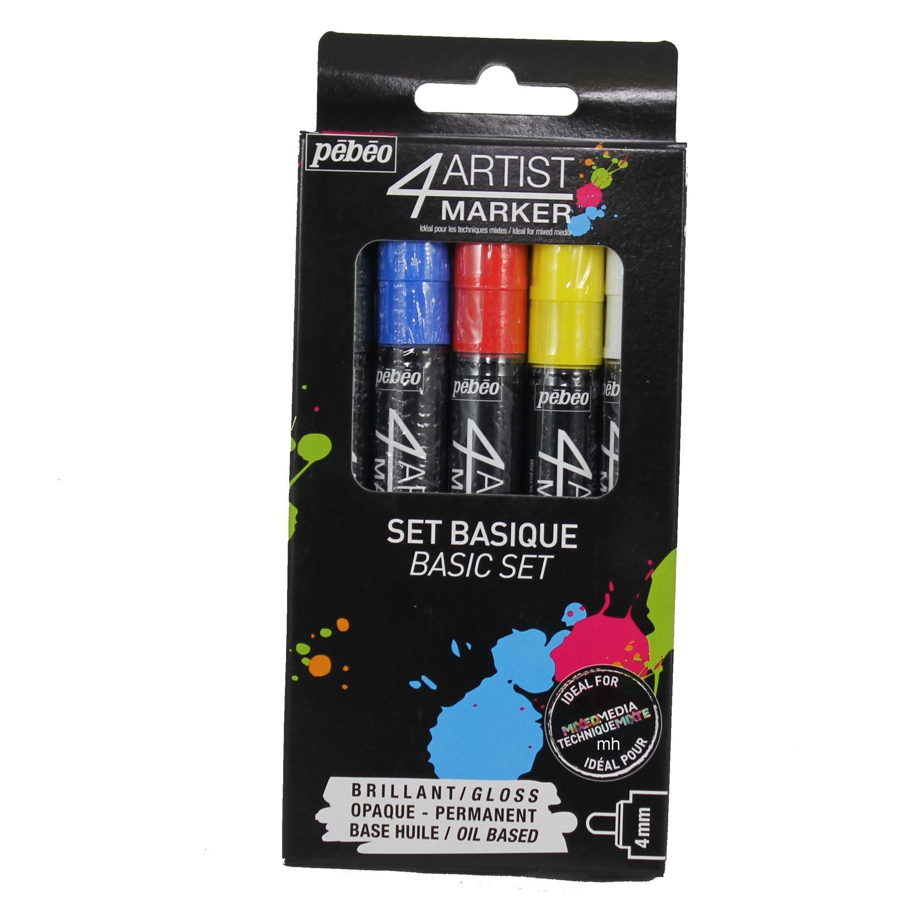 Pebeo 4 Artist Marker Basic Set 5 colours 4mm nibs