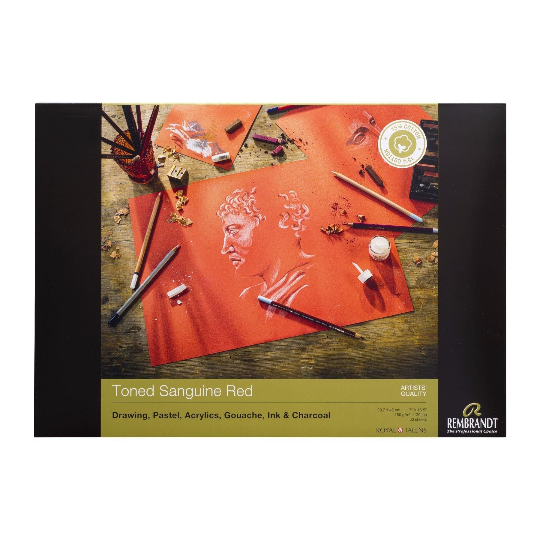 Rembrandt toned Sanguine Red paper pad180gsm 50 sheets A3
