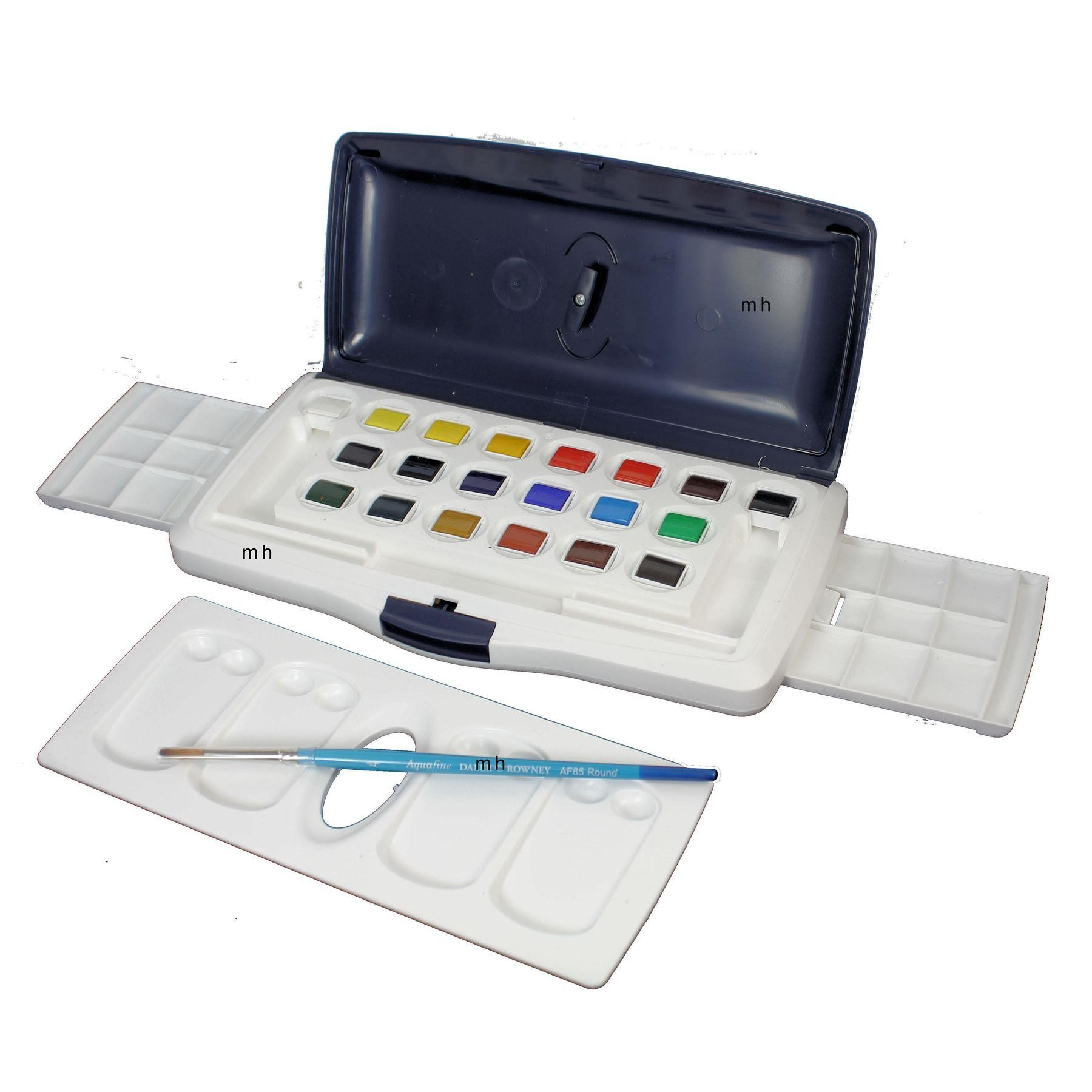 Daler Rowney Aquafine Watercolour Box 20 Half Pans Palette and Brush Set