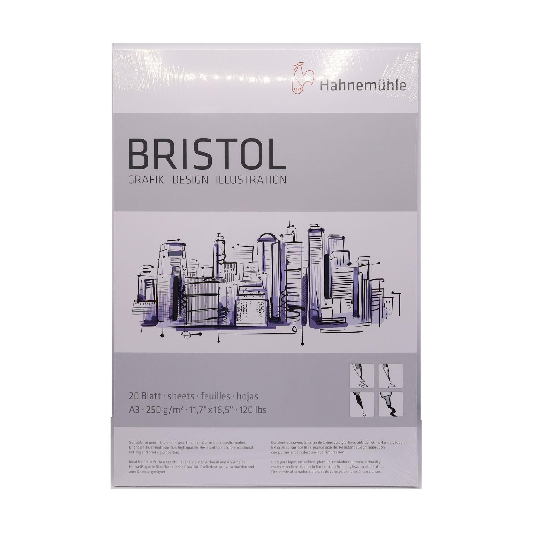 Hahnemuhler Bristol paper pad A3 20 sheets 250gsm smooth white