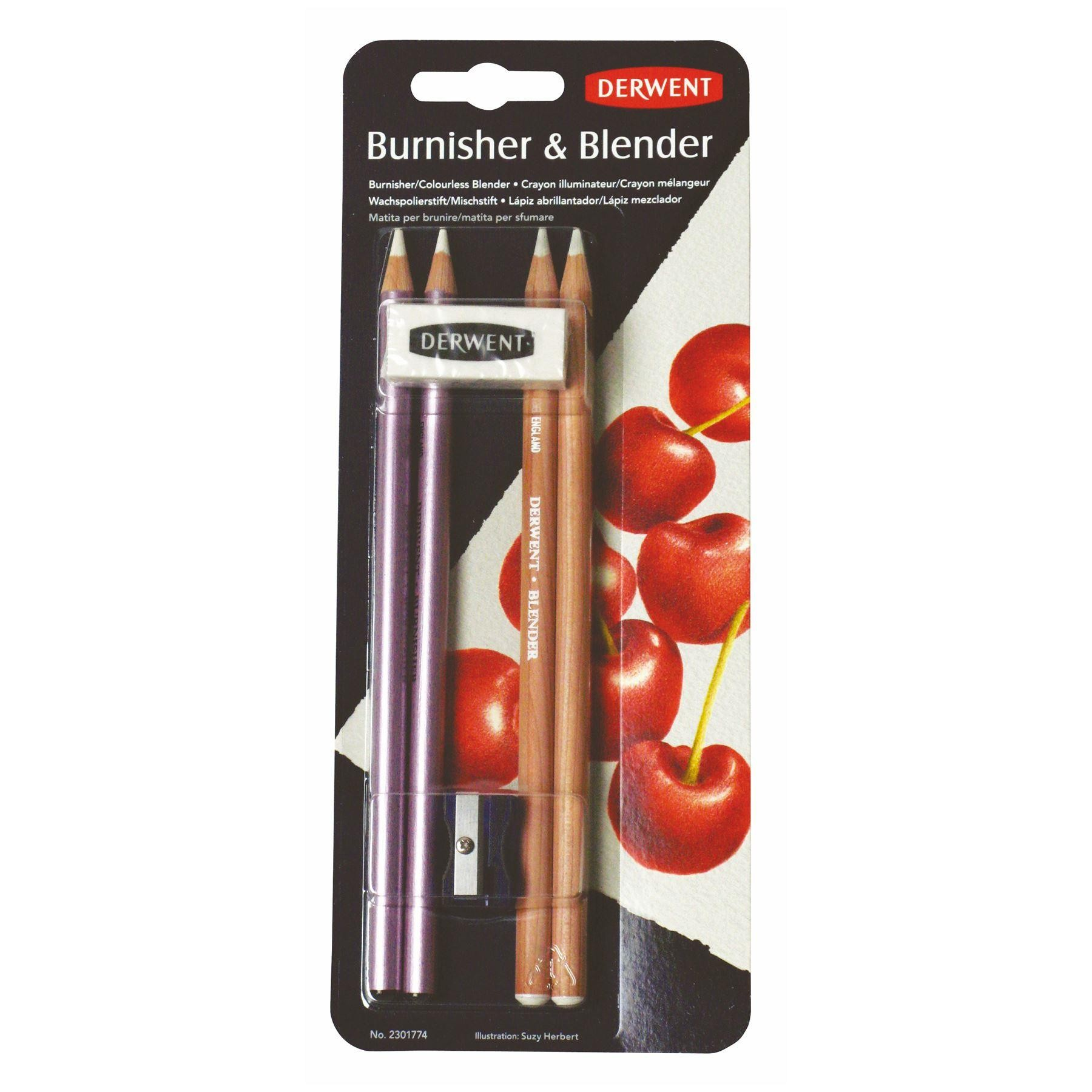 Derwent Blender & Burnisher pencils easer & sharpener Pack
