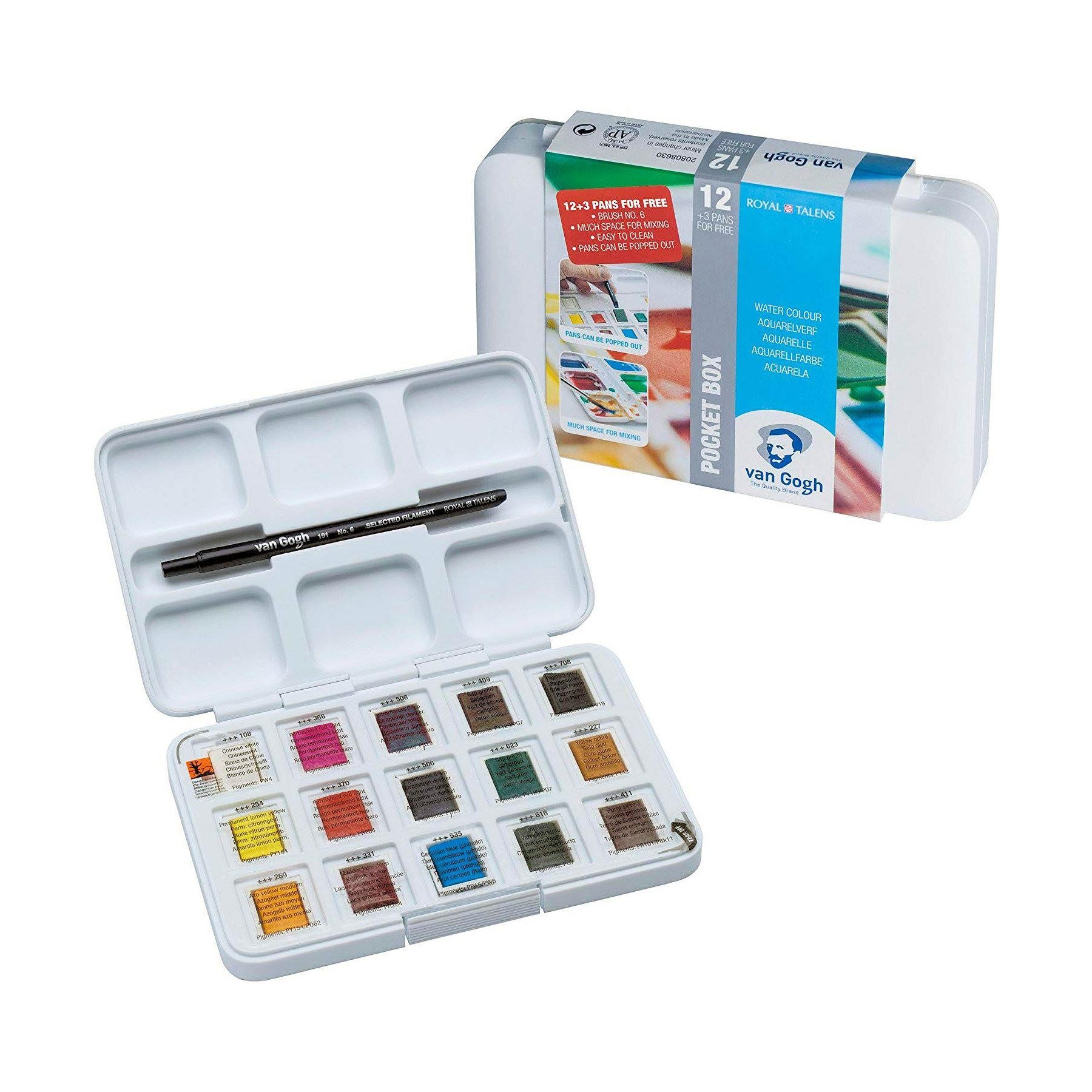 Van gogh water colour pocket box 15 half pans palette